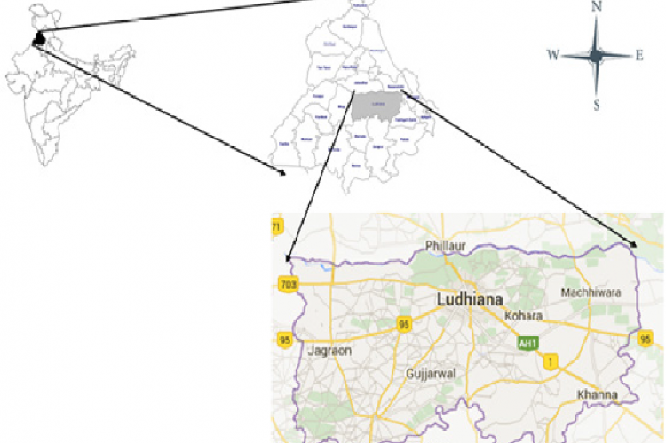 The map showing the location of district Ludhiana used for current study