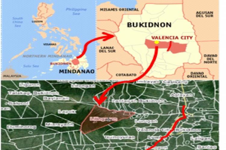 Map of Barangay Lilingayon, Valencia City, Bukidnon, Philippines