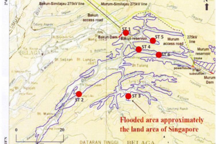 Map shows the location of sampling stations in Bakun Dam, Sarawak.