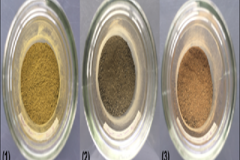 Mucilage powders from the leaves of (1) A. manihot, (2) A. spinosus and (3) T. triangulare