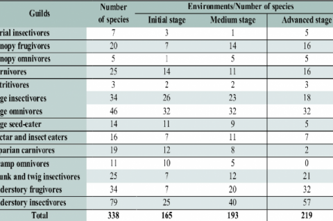 Number of bird species in different guilds and in different natural environments.