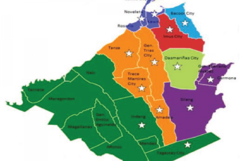 """A map of Cavite, Philippines. Areas marked with """""""" are the municipalities/cities which served as study areas"""
